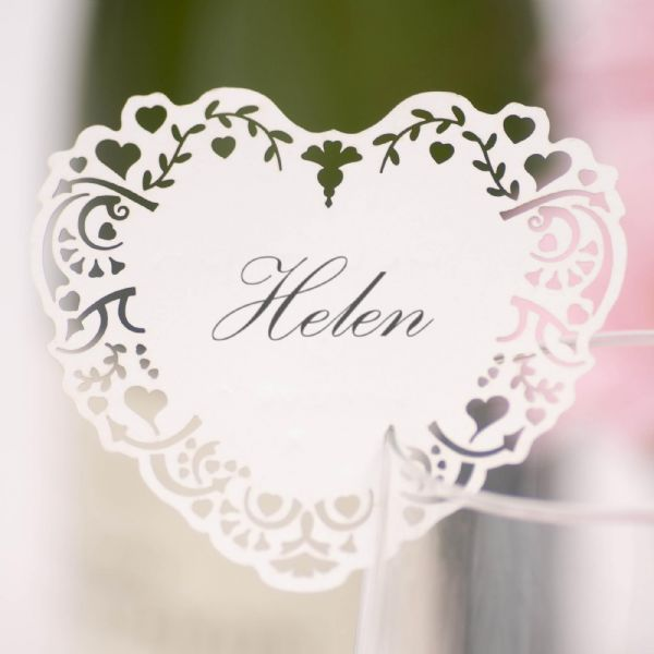 Vintage Romance White Laser Cut Heart Place Cards For Glass (10)